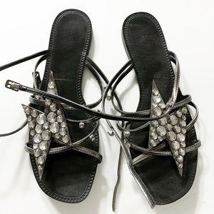 Black rhinestone Zara stripes chic sandals